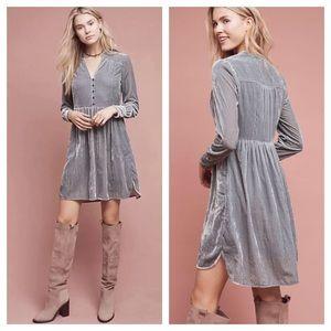 Anthropologie Velvet Shirt Dress